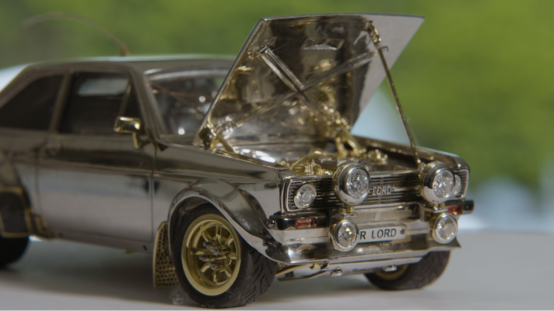 Tiny Classic Ford Escort Made of Gold, Diamonds and Silver Expec